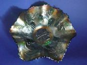 Fenton Green Carnival Glass 'Vintage' Deep Ruffled Bowl